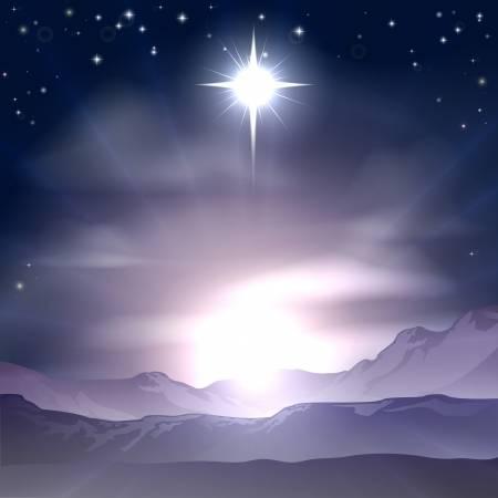 Deze afbeelding heeft een leeg alt-attribuut; de bestandsnaam is 22319078-een-christelijke-kerstmis-illustratie-van-de-ster-van-bethlehem-die-de-wijzen-volgden-over-de-desser.jpg